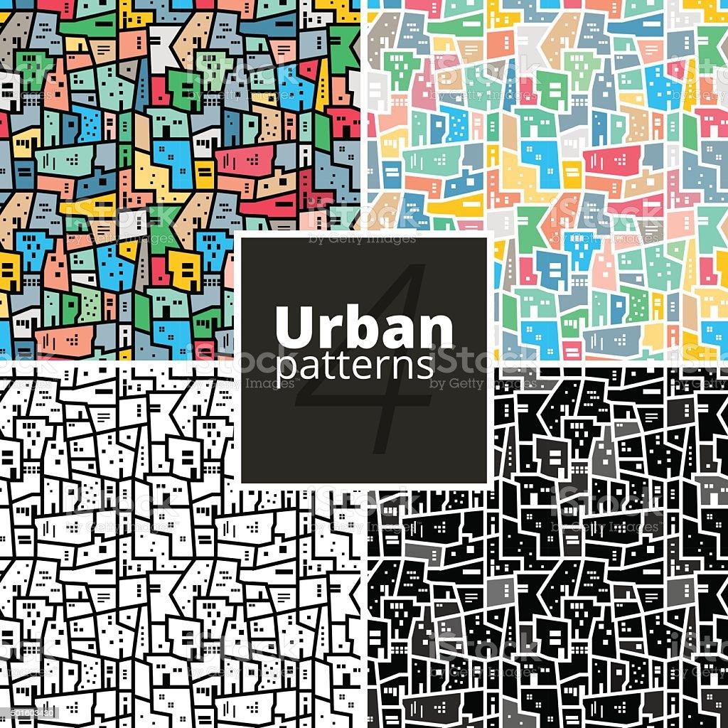 Set of urban patterns. Vector textures. vector art illustration