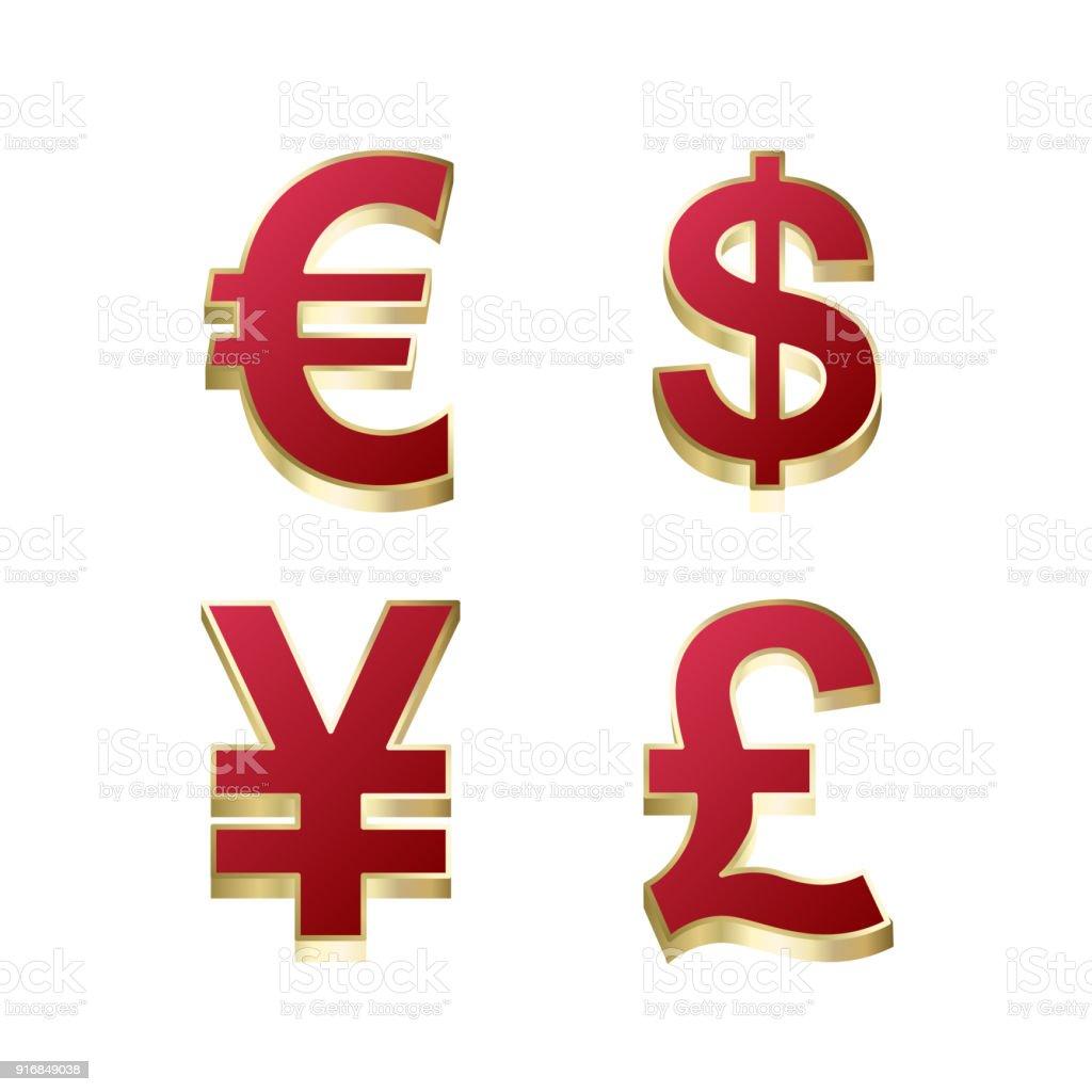 Set Of Us Dollar Euro Great Britain Pound Japanese Yen For App Icon