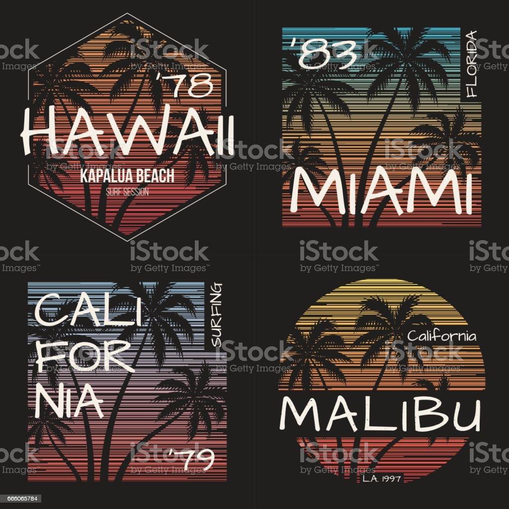 Set of US resorts t-shirt designs. Vector illustration. vector art illustration