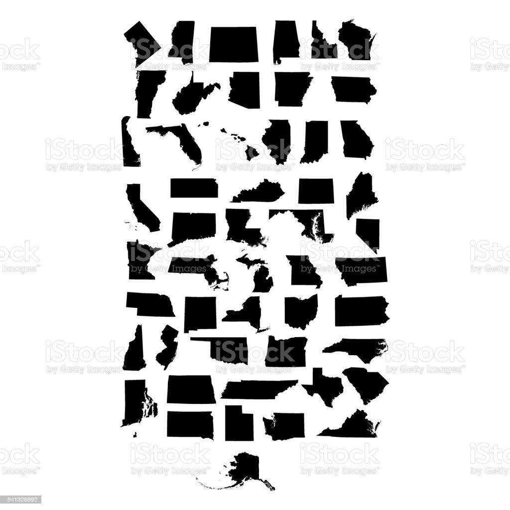 set of US states maps vector art illustration