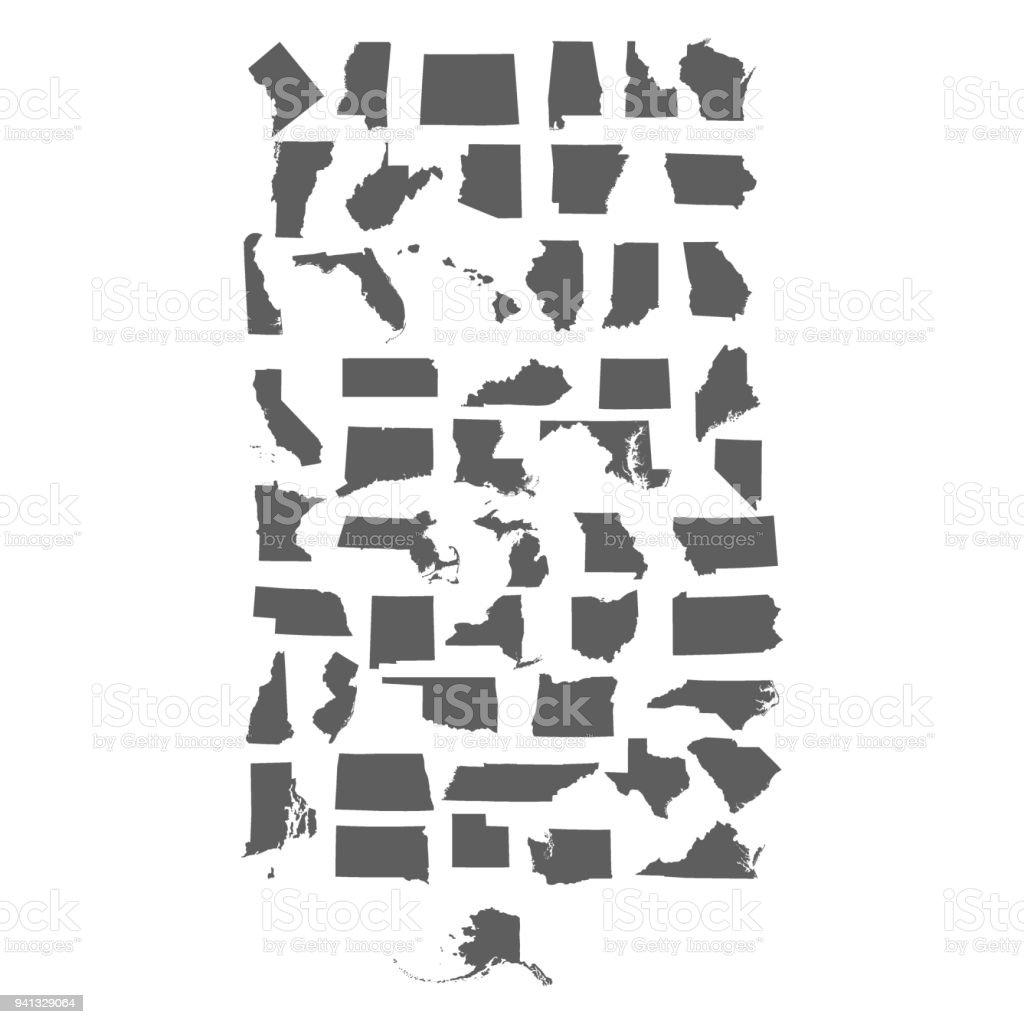 set of US states vector art illustration