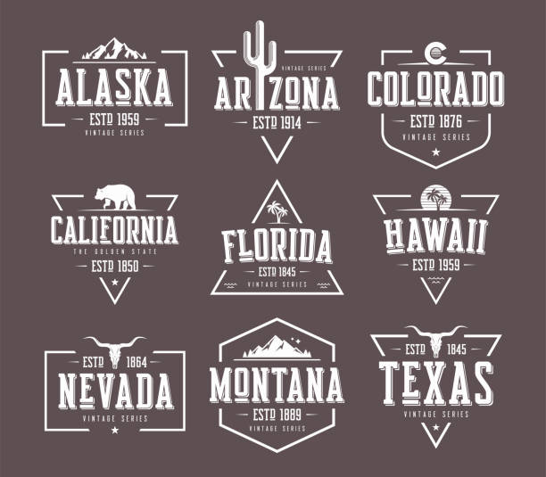 Set of US states vintage vector t-shirt and apparel designs, bad vector art illustration