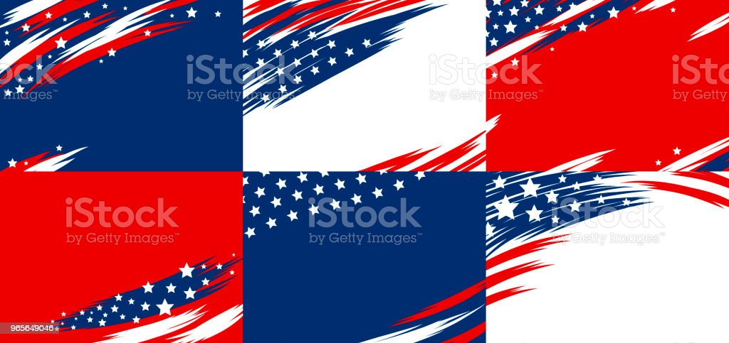Set of USA banner abstract background design of american flag vector illustration vector art illustration