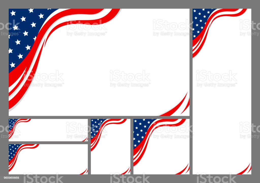 Set of USA banner abstract background design of american flag with copy space vector illustration - Royalty-free Abstract stock vector