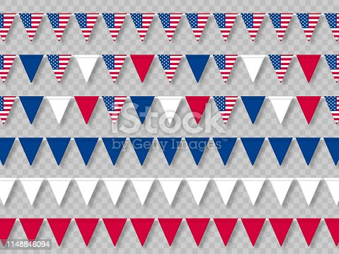 Set of USA bunting flags in traditional colors.