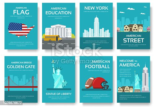 Set of USA country ornament travel tour concept. American traditional, magazine, book, poster, abstract, element. Vector decorative ethnic greeting card or invitation design background.