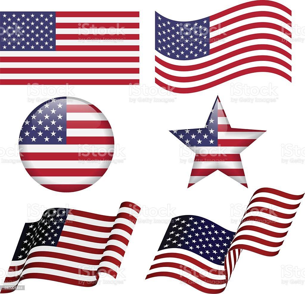 Set of USA flag designs ベクターアートイラスト