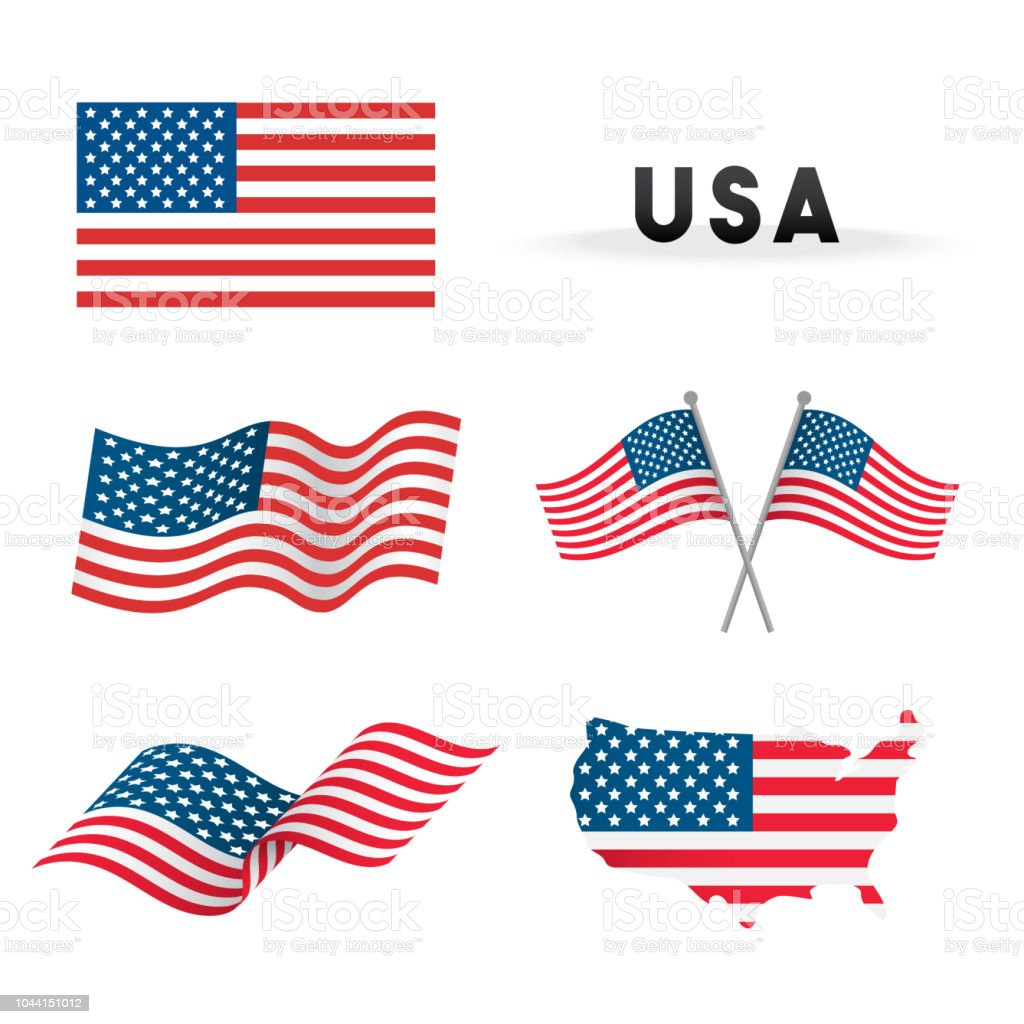 Set of USA Flag Vector illustration. Flags waving with America map isolated on white background.