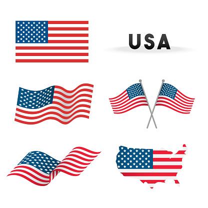 Set Of Usa Flag Vector Illustration Flags Waving With America Map Isolated On White Background - Stockowe grafiki wektorowe i więcej obrazów Amerykańska flaga