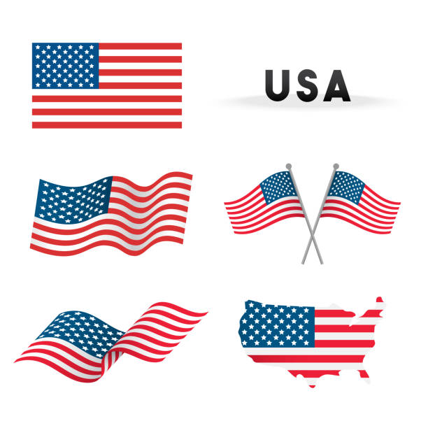 set of usa flag vector illustration. flags waving with america map isolated on white background. - american flag stock illustrations