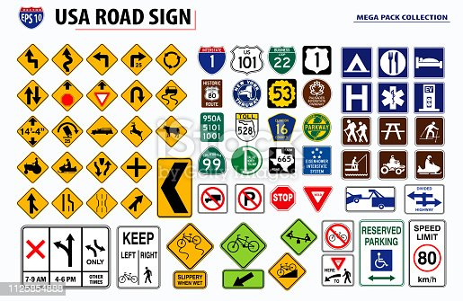set of USA street sign. easy to modify