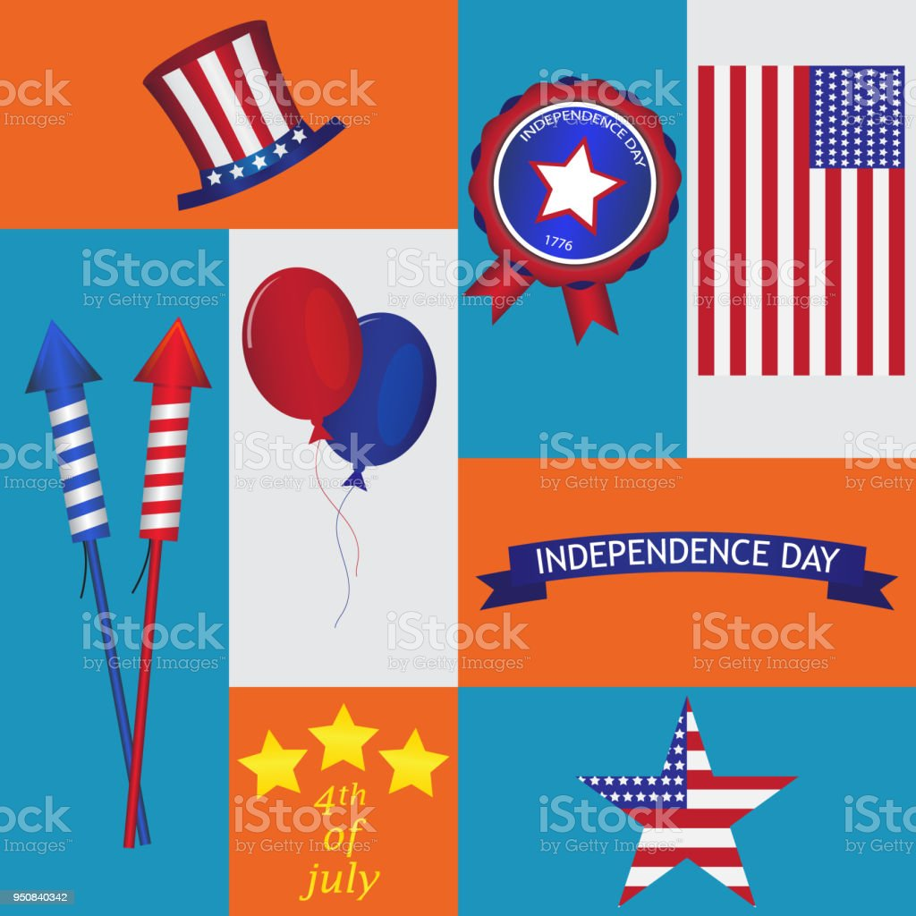 Set Of Usa Symbols And Design Elements For Independence Day White