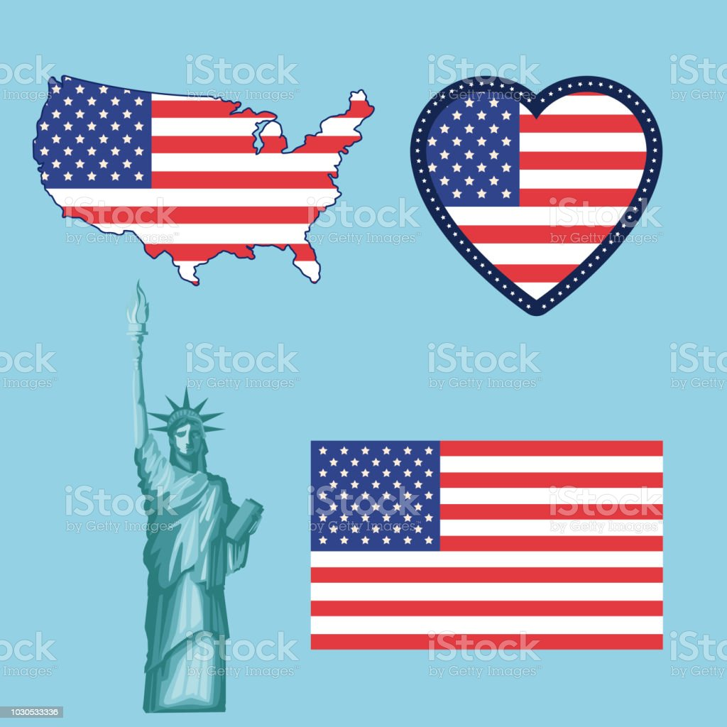 Set Of Usa Symbols Stock Vector Art More Images Of Celebration