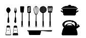 Set of utensil in black on a white background. vector. illustration