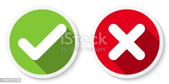 Set of V and X icons, buttons. Flat round check & cancel symbol stickers. Vector EPS 10