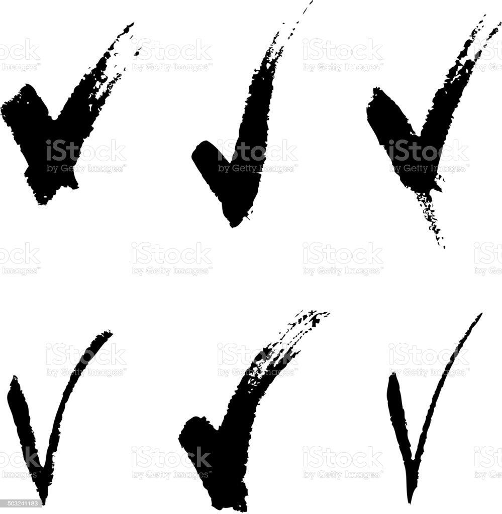 Set of V signs vector art illustration