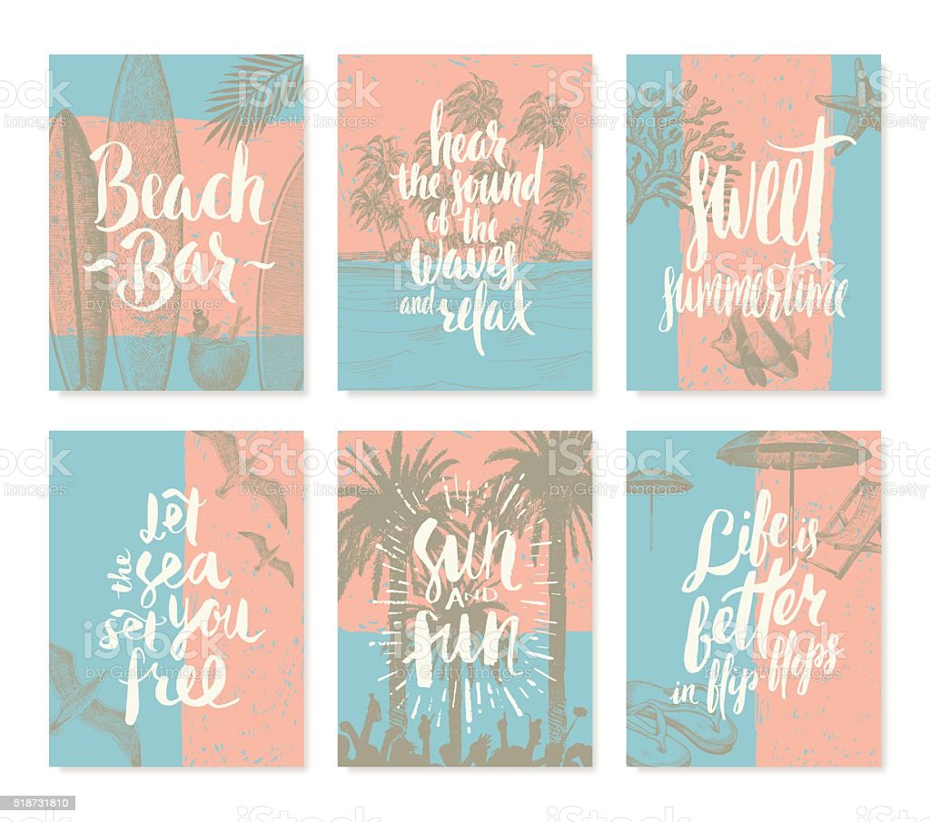 Set of vacation and summer holidays posters or greeting card vector art illustration