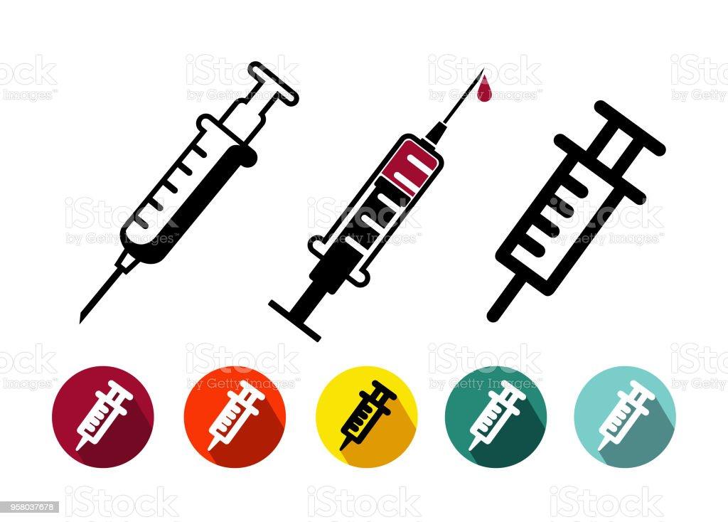 Conjunto de icono de vacunación en estilo de línea fina de moda, diseño plano. Símbolo médico para su diseño, aplicaciones, insignia, interfaz de usuario. Ilustración de vector. Aislado sobre fondo blanco - ilustración de arte vectorial