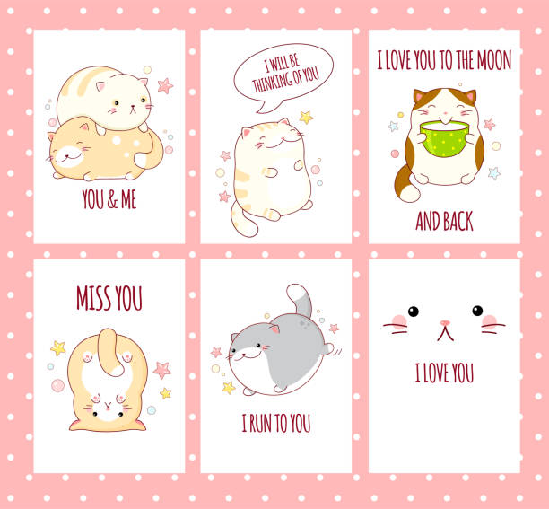 Set of Valentine banners Valentine's day banner background, flyer, placard, sticker with cute cats and inscription miss you, i run to you, i love you to the moon and back. Vector template card for congratulation, invitation cat valentine stock illustrations