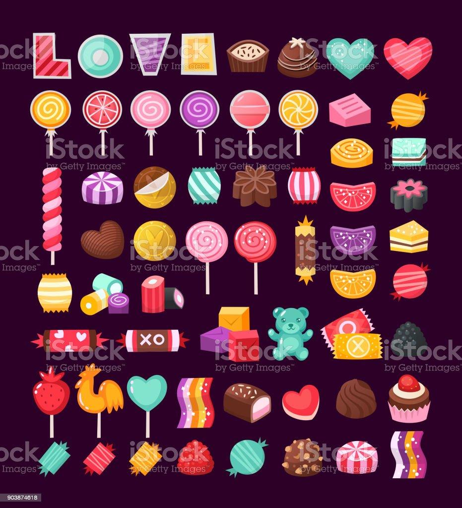 Ensemble de bonbons de la Saint-Valentin - Illustration vectorielle