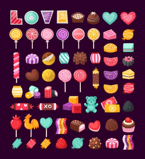 satz von valentine bonbons - kuchen und süßwaren stock-grafiken, -clipart, -cartoons und -symbole