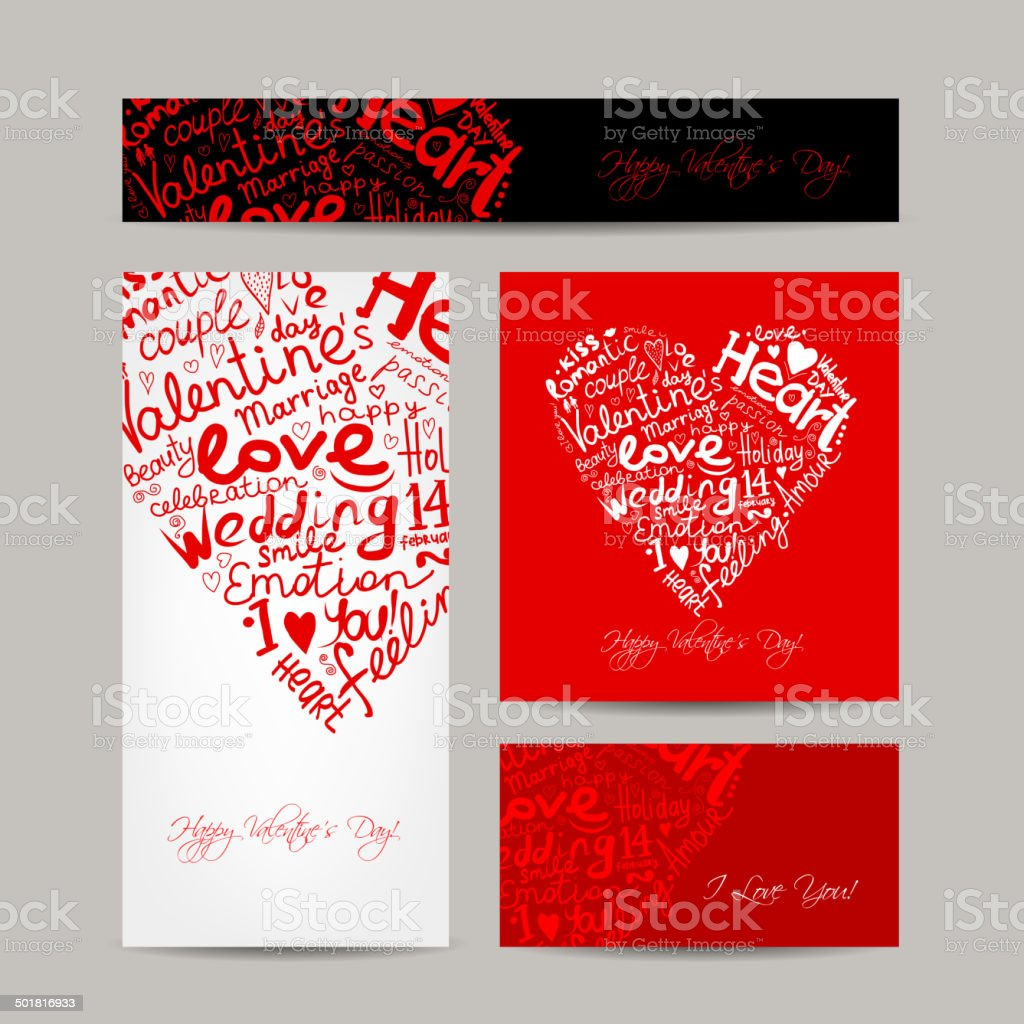 Set of valentine cards for your design royalty-free stock vector art