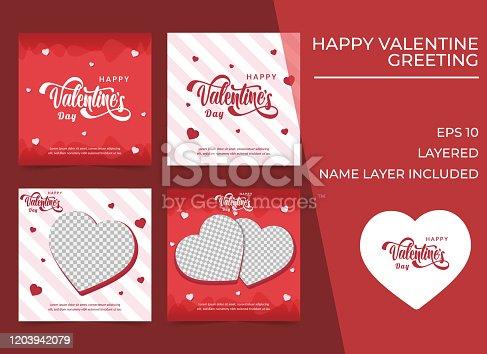 Set of Valentine's Card for social media, Red Love Wallpaper, Happy Valentine's Day. Valentine's greeting template for social media.
