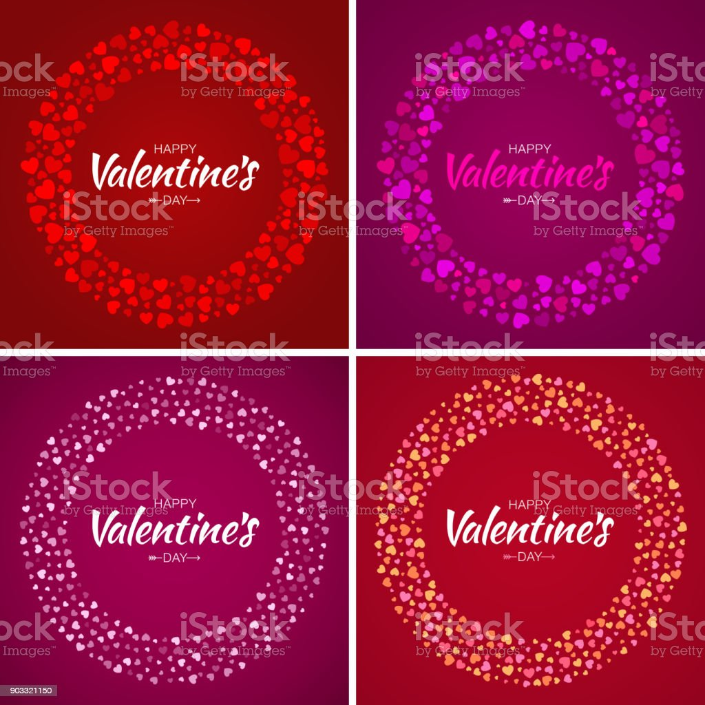 Set Of Valentines Day Card Design Love Circle Frame From Pattern ...