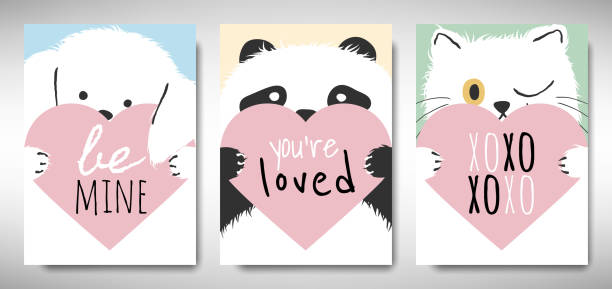 Set of Valentines day card template design, dog, panda and cat holding heart with love message, simple pastel  theme Set of Valentines day card template design, dog, panda and cat holding heart with love message, simple pastel  theme cat valentine stock illustrations