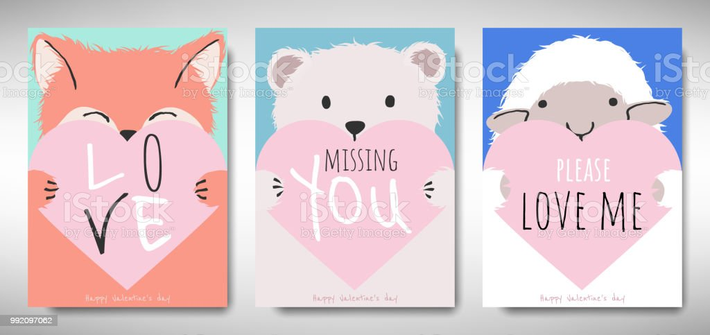 Set Of Valentines Day Card Template Design Fox Bear And Sheep ...