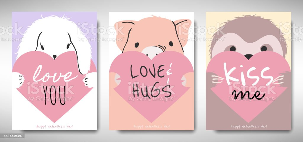 set of valentines day card template design rabbit pig and sloth