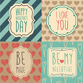 A collection of retro Valentine's cards. EPS10 vector illustration, global colors, easy to modify.