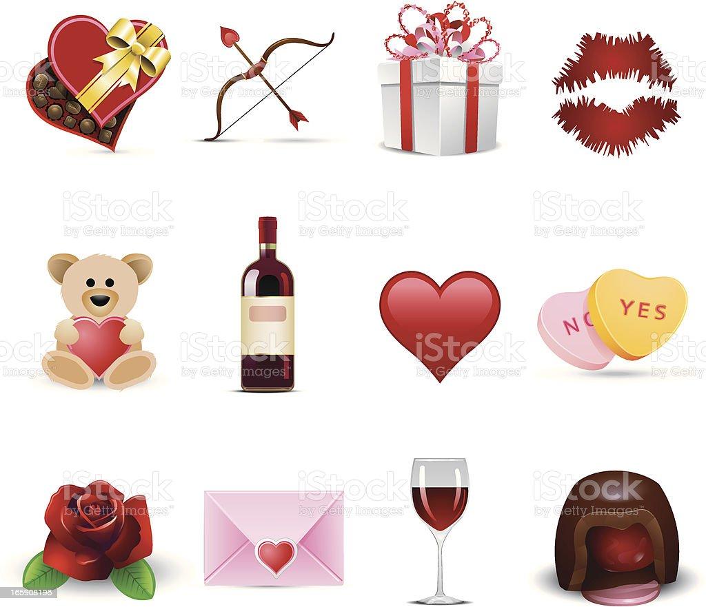 Set of Valentine's Day celebration icons vector art illustration
