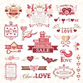 Set of Valentines Day design elements. Color version.