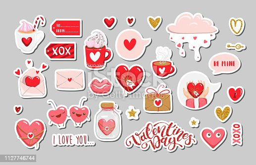 Set of Valentines day elements. Vector EPS10