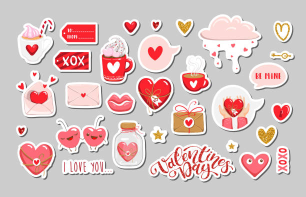 set of valentines day elements. vector eps10 - valentines day stock illustrations