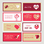 Set of vector Valentines day greeting card