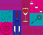 Set of Valentines Day greeting cards, linear style, backgrounds of various trend colors. Set of holiday elements. Vector drawing for design, banners, stickers, internet backdroops.