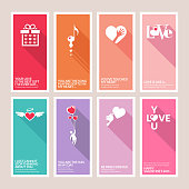 Set of vector Valentines day greeting cards