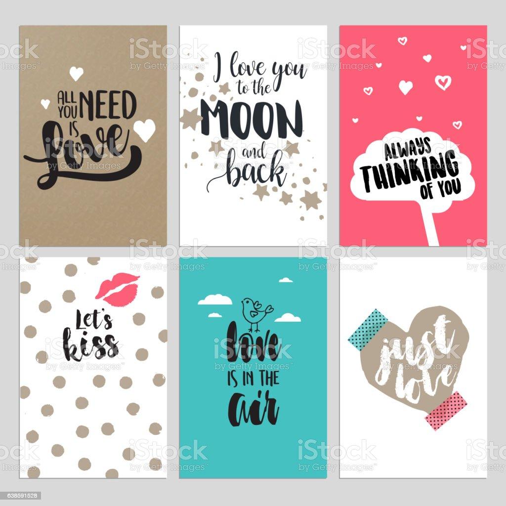 Set of Valentine's day greeting cards vector art illustration