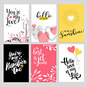 Set of Valentine's day greeting cards. Flat design vector illustrations for love messages, social media banners and covers, website badges and banners, printed material.