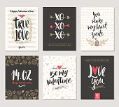 Set of Valentine's Day hand drawn greeting card with calligraphy