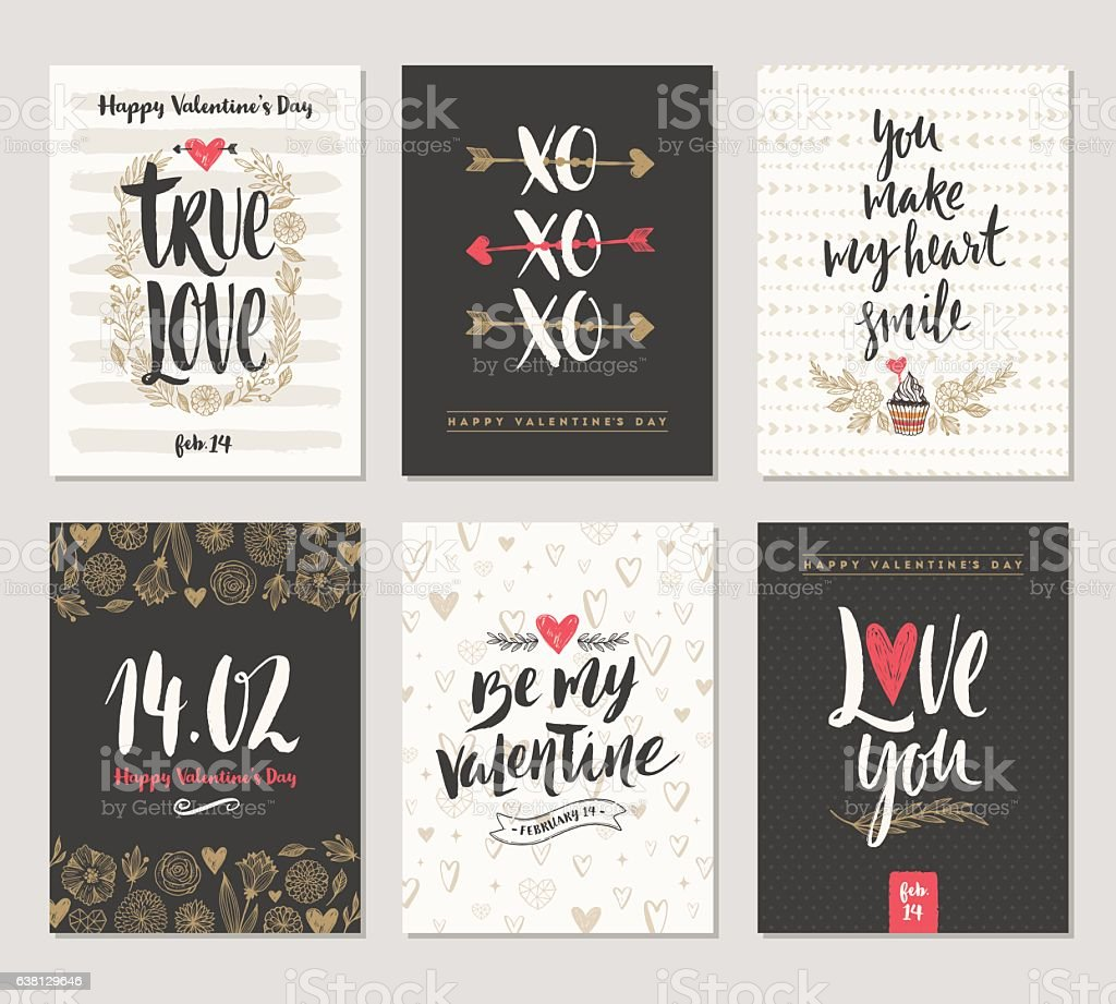 Set of Valentine's Day hand drawn greeting card with calligraphy vector art illustration