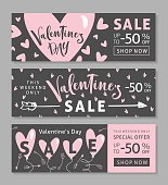 Set of Valentines Day Sale Banners with modern calligraphy. Vector illustration.