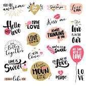 Set of Valentine's day stickers and badges. Hand drawn vector illustrations for greeting cards, love messages, social media, networking, web design.