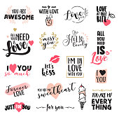 Set of Valentine's day stickers and elements. Hand drawn vector illustrations for greeting cards, love messages, social media, networking, web design.