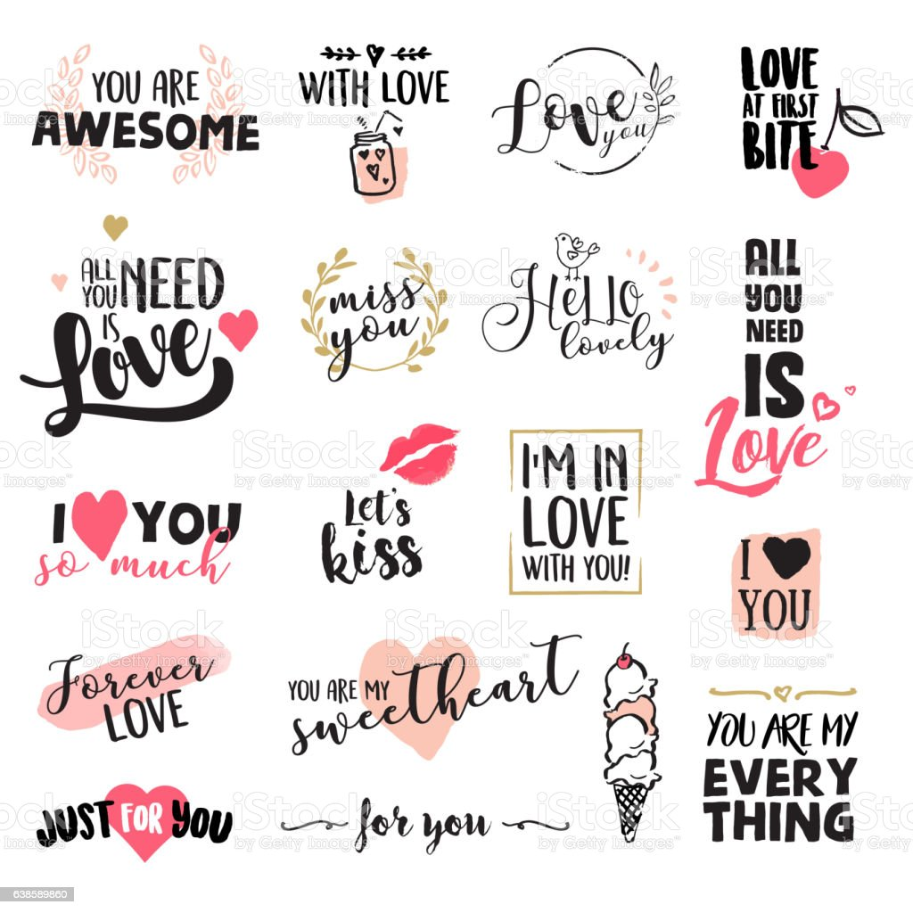 Set of Valentine's day stickers and elements vector art illustration