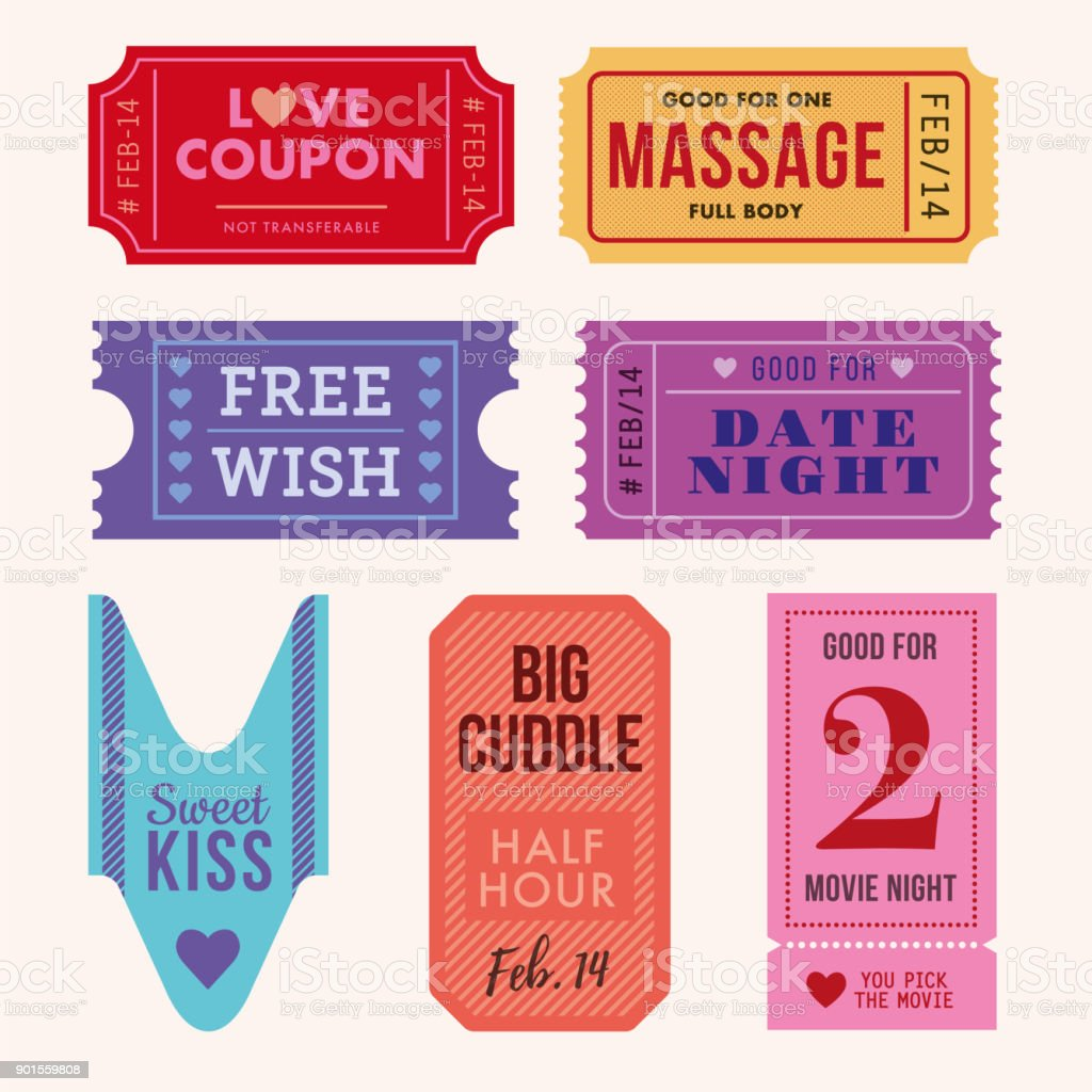 Set of Valentine's Day Tickets and Coupon. vector art illustration