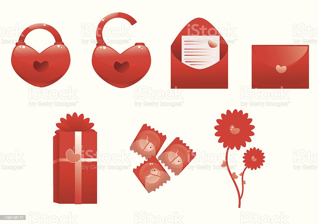 set of valentines icons royalty-free stock vector art