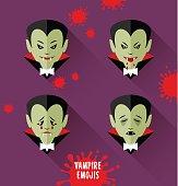 Set of vampire emojis. halloween design elements.